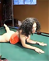 Bitch bent over the pool table for a thorough corporal punishment